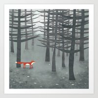 trees Art Prints featuring The Fox and the Forest by Nic Squirrell