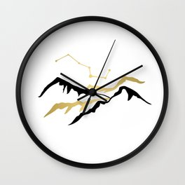 Mountains gold and black  Wall Clock