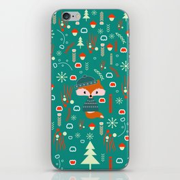 Cute fox waiting for Christmas iPhone Skin