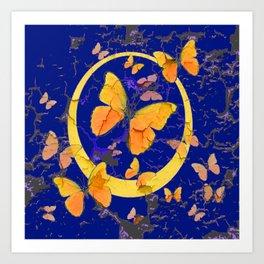 VINTAGE  YELLOW BUTTERFLIES SHABBY CHIC ART Art Print
