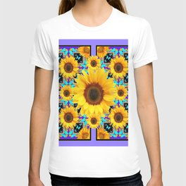 Lilac Purple Yellow Sunflowers &  Aqua Butterflies Quatre  Patterns T-shirt