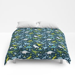 Kawaii Dinosaurs in Blue + Green Comforters