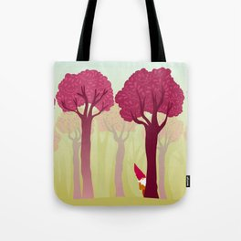 colorful forest with cute dwarf Tote Bag