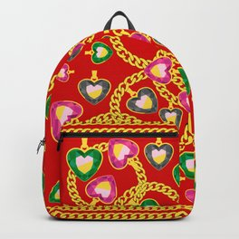Fashion Print with Golden Chains and Jewelry Backpack