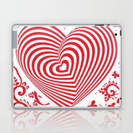 red white heart on red floral ornament background. Optical illusion of 3D Laptop & iPad Skin