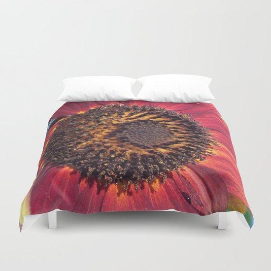The Red Sunflower Duvet Cover
