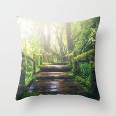 Green Jungle Forest Path Throw Pillow