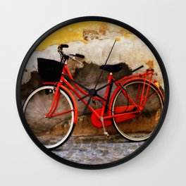 The Red Bicycle Wall Clock