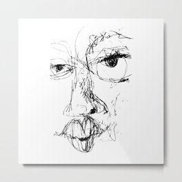 Doodle Face 7 by Kathy Morton Stanion Metal Print