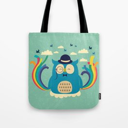 Happy owl with rainbow Tote Bag