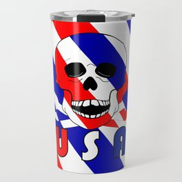 Skull And Bones USA Red White Blue Travel Mug