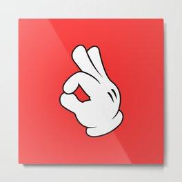 Ok Cartoon Emoji Hands Metal Print