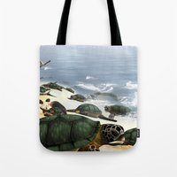 turtles Tote Bags featuring Turtles by nicky2342