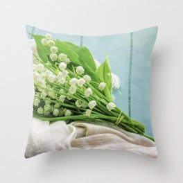 a bunch of lily of the valley Throw Pillow
