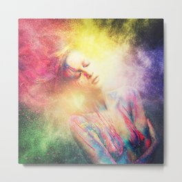 Young woman muse with creative body art and hairdo (2) Metal Print