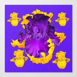 Decorative Modern Purple Iris Color Golden Pattern  Art #2 Canvas Print