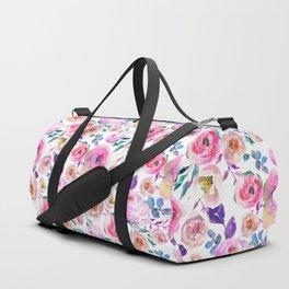 Elegant modern pink lilac orange watercolor floral Duffle Bag