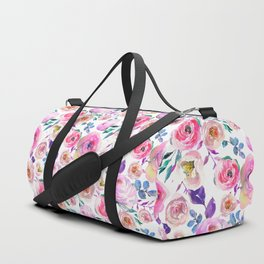 Elegant modern pink lilac orange watercolor floral Duffle Bag