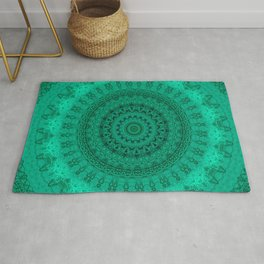 Forest Green Detailed Mandala Rug