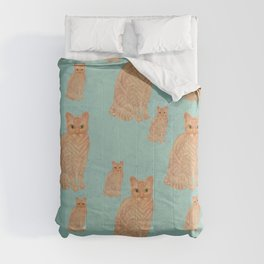 Devon Rex Cat Teal Comforters