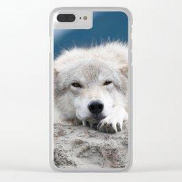 Sleepy Wolf Clear iPhone Case