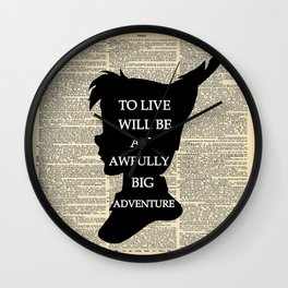 Peter Pan Over Vintage Dictionary Page - To Live Wall Clock