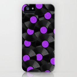 Vinyl Records Pattern (Purple) iPhone Case