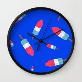 Popsicles - Retro Pattern - (cobalt blue background) Wall Clock