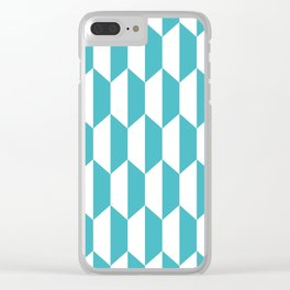 Classic Trapezoid Pattern 226 Turquoise Clear iPhone Case