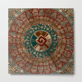Hunab Ku Gold Red and Teal Metal Print