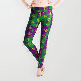 Mardi Gras Fleur-de-Lis Pattern Leggings