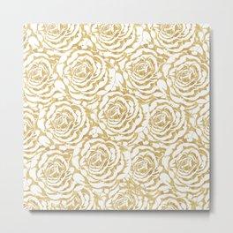 Elegant romantic gold roses pattern image Metal Print