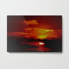 Sundown You Better Take Care (Sunset Scituate Reservoir) Landscape by Jeanpaul Ferro Metal Print