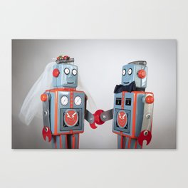 Two robots getting married Canvas Print
