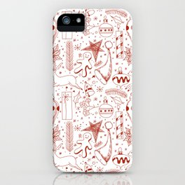 Doodle Christmas pattern iPhone Case