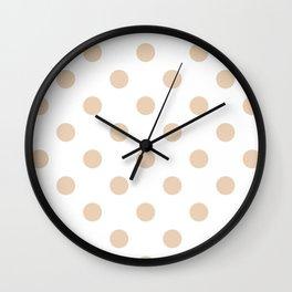 Polka Dots - Pastel Brown on White Wall Clock