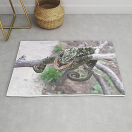 Colourful Chameleon Wrapped Around A Branch Rug