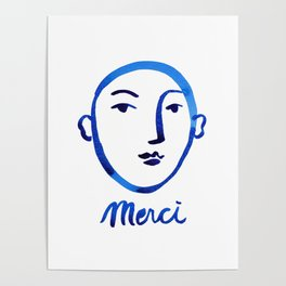Merci, face watercolor painting, blue and white printable wall art, minimalist wall art print, insta Poster