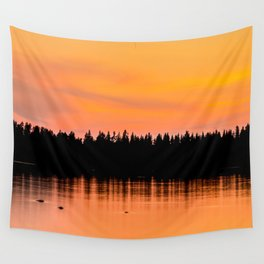 Orange Sunset With Forest Reflection On Lake Wall Tapestry