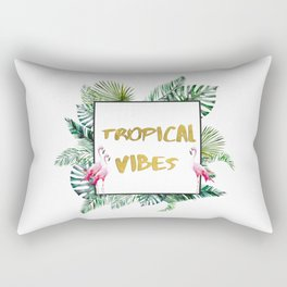 Aloha - Tropical Vibes Typography with Palm Leaves and Flamingo Rectangular Pillow