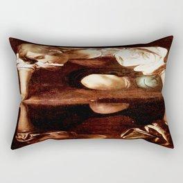 Michelangelo Merisi da Caravaggio, Narcissus at the Source, oil on canvas, 1597-99 Rectangular Pillow