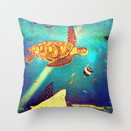 Beautiful Sea Turtles Under The Ocean Painting Throw Pillow
