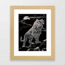The animal story book Andrew Lang - 1904 Black & White Ink Lion Magical Mystical Animal Art Framed Art Print