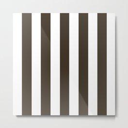 Jacko bean brown - solid color - white vertical lines pattern Metal Print