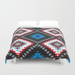 Colorful patchwork mosaic oriental kilim rug with traditional folk geometric ornament. Tribal style Duvet Cover