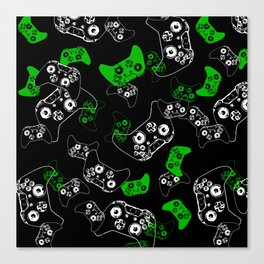 Video Game Black & Green Canvas Print