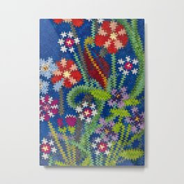 Starry Floral Felted Wool, Blue Metal Print