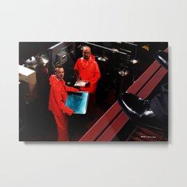 Bryan Cranston as Walter White and Aaron Paul as Jesse Pinkman cooking metha @  Breaking Bad Metal Print