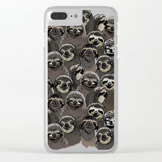 Social Sloths Clear iPhone Case