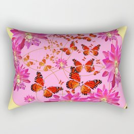 Modern Pink Butterflies Floral Abstract Rectangular Pillow